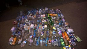 Waste bottles collected from Putney foreshore